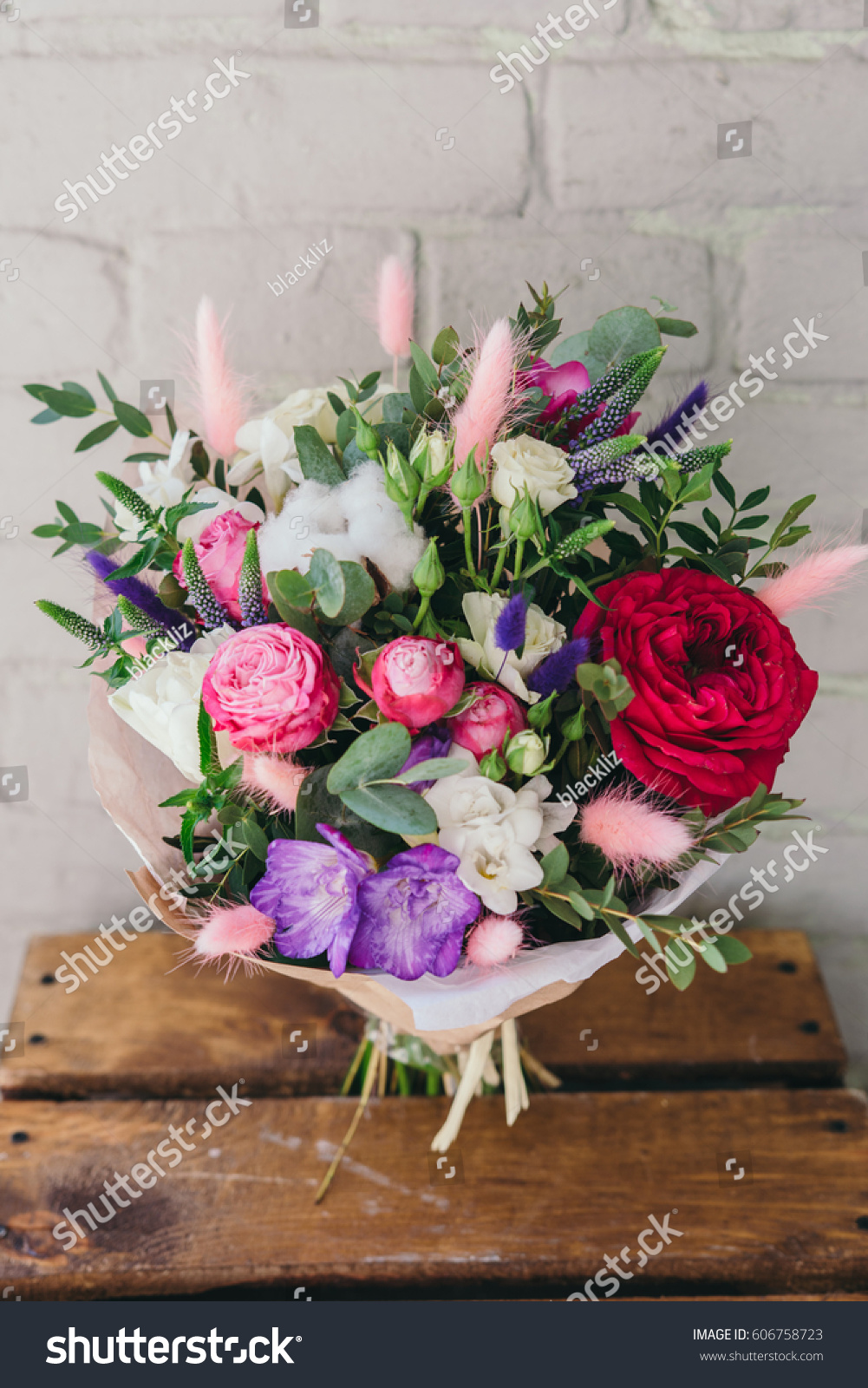 Stylish bouquet of fresh flowers composition from freesia roses id 606758723 izmirmasajfo