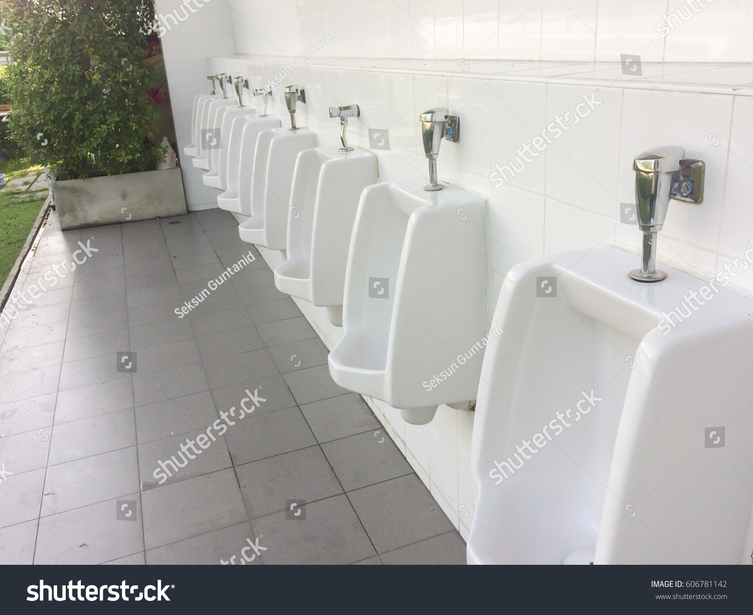 Close Row Outdoor Urinals Men Public Stock Photo (Edit Now ...