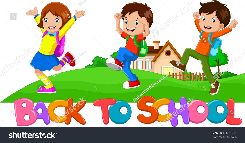 BACK SCHOOL Happy Kids Going School Stock Vector HD (Royalty Free ...