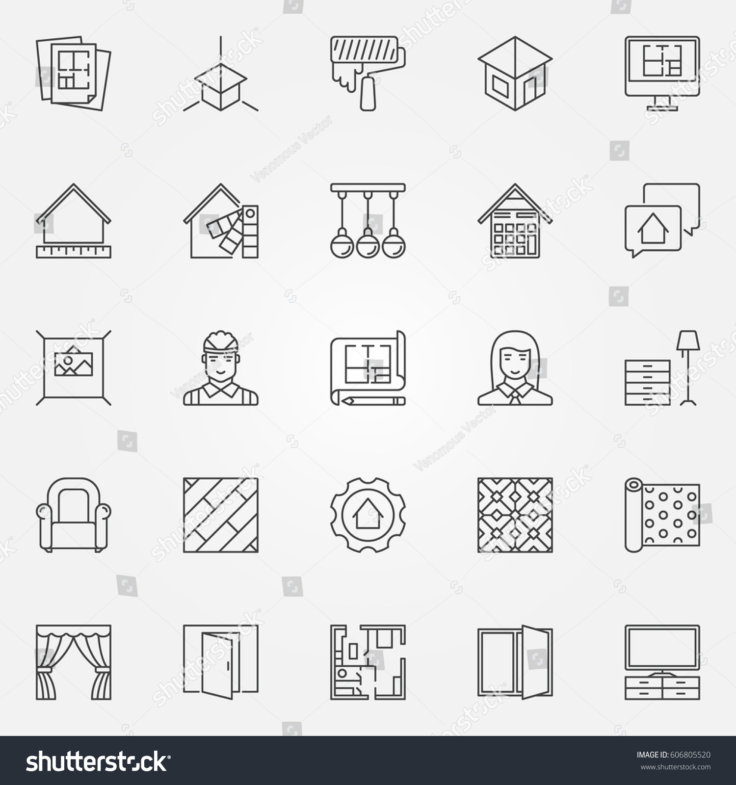 Interior design icons set vector architecture stock vector vector architecture symbols for design company signs or design elements in biocorpaavc Images