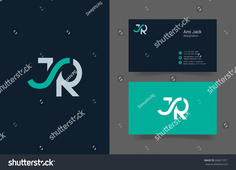 J r letter logo design vector em vetor stock 606811871 shutterstock j r letter logo design vector with business card template reheart Choice Image