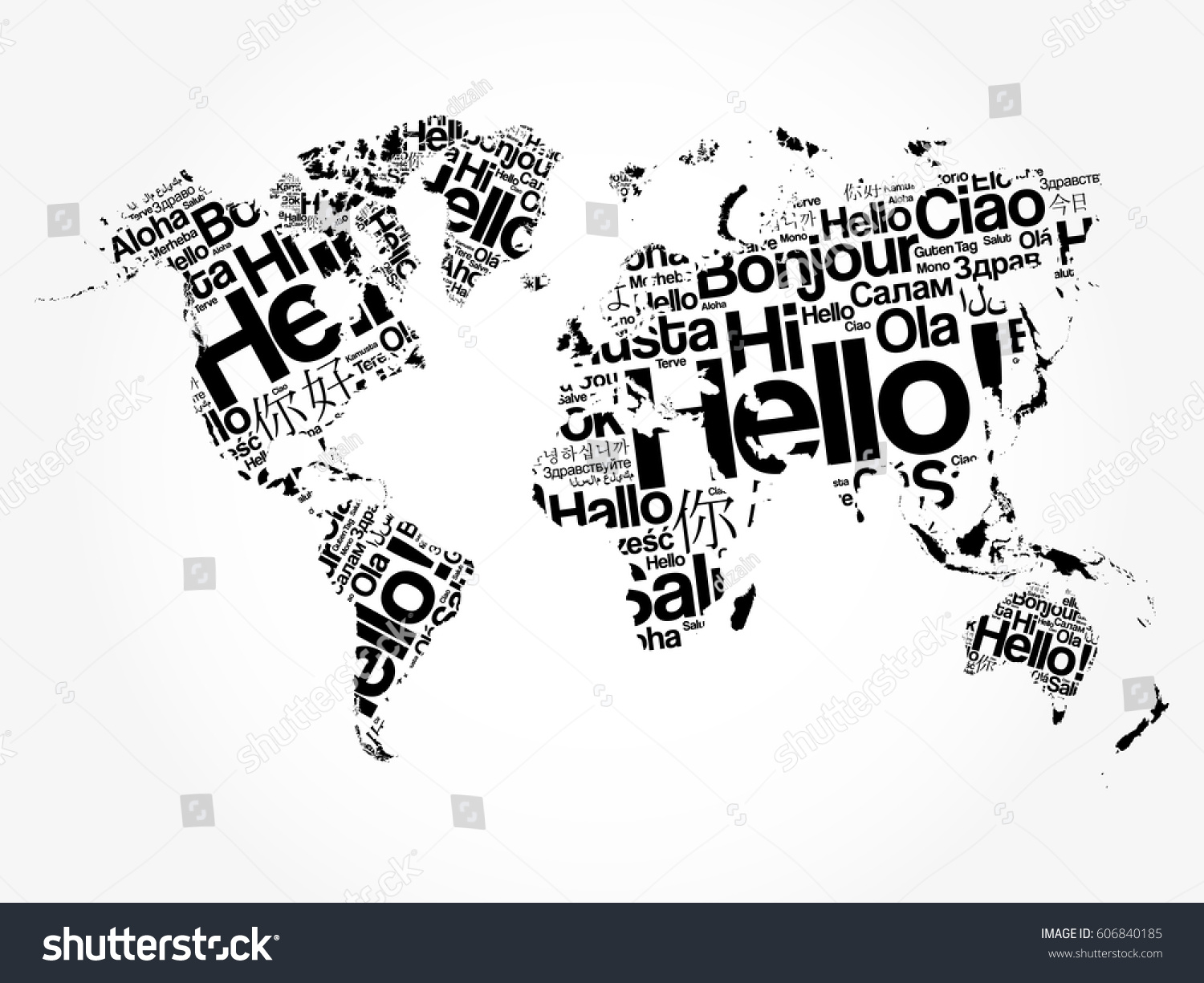 Hello different languages word cloud world vectores en stock hello in different languages word cloud world map business concept background gumiabroncs Choice Image