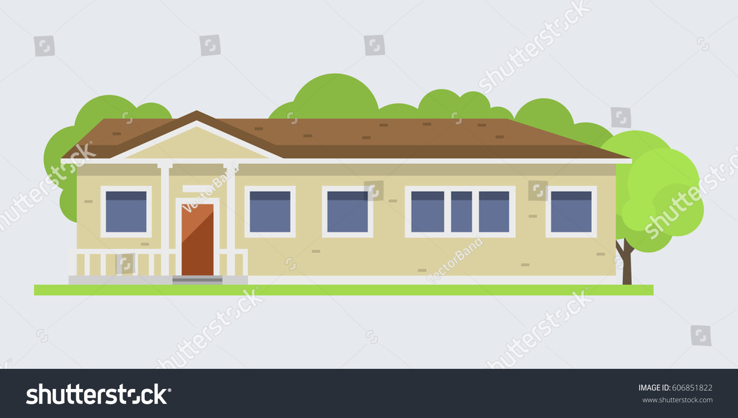 Cute Colorful Flat Style House Village Stock Vector 606851822 ...