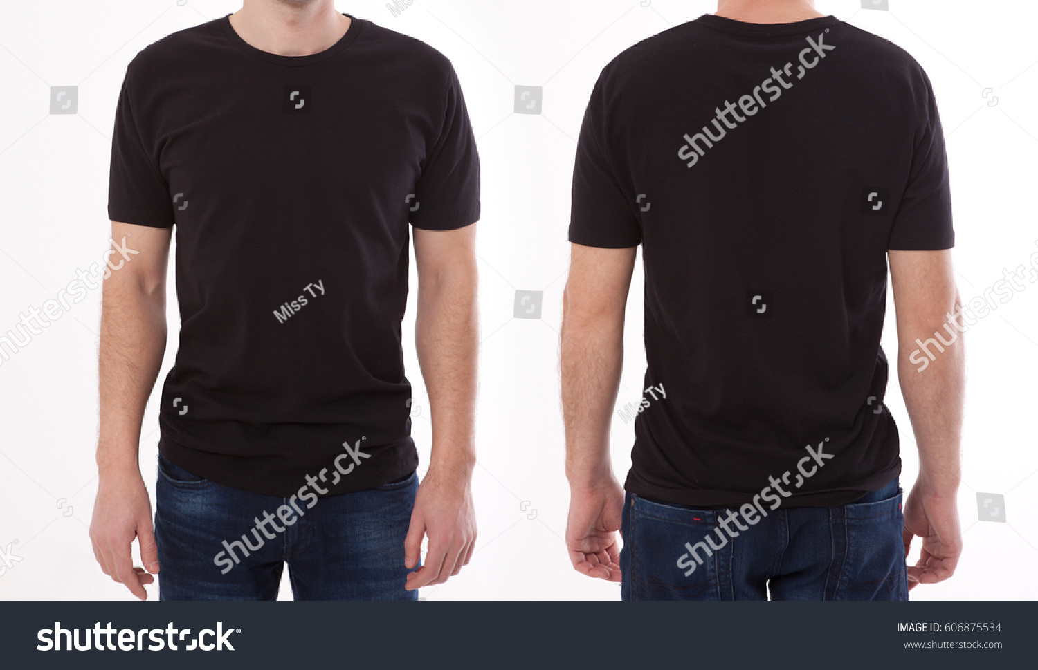 Shirt design and people concept - closeup of young man in blank black tshirt front and rear isolated. Mock up template for design print #606875534