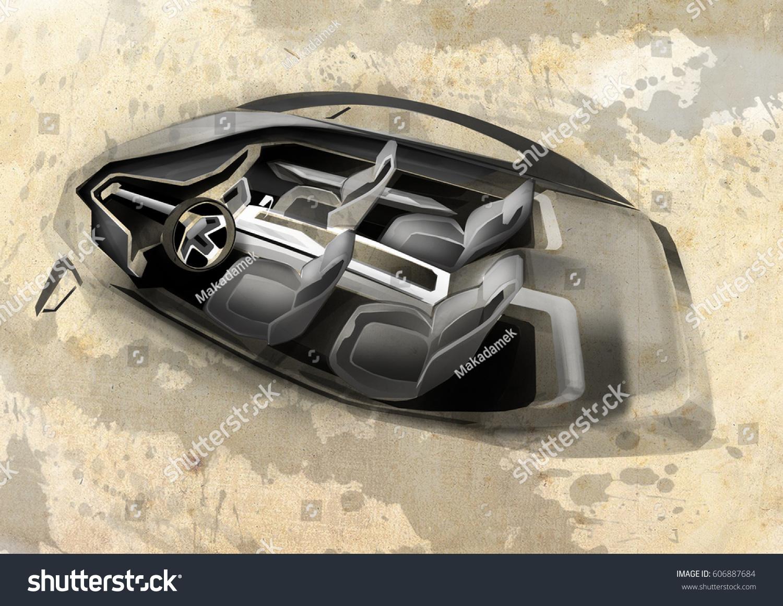 Futuristic Car Interior Stock Illustration 606887684 Shutterstock