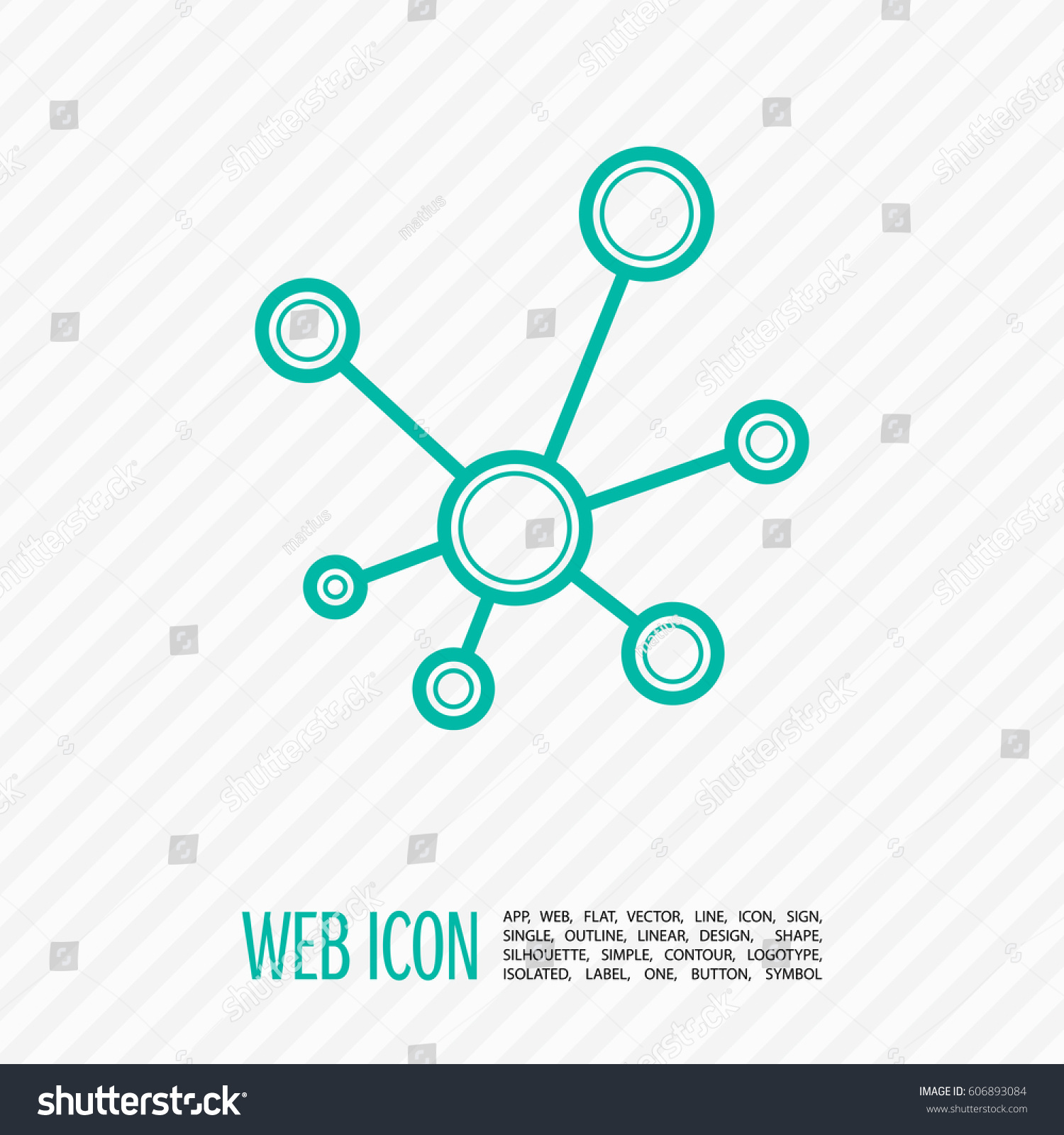 Hub Network Connection Isolated Minimal Flat Stock Vector 606893084 ...