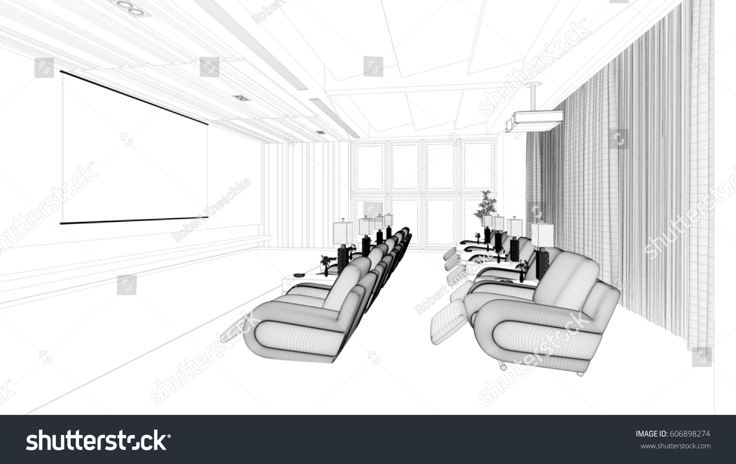 CAD Planning Modern Luxury Home Cinema Stock Illustration 606898274 ...