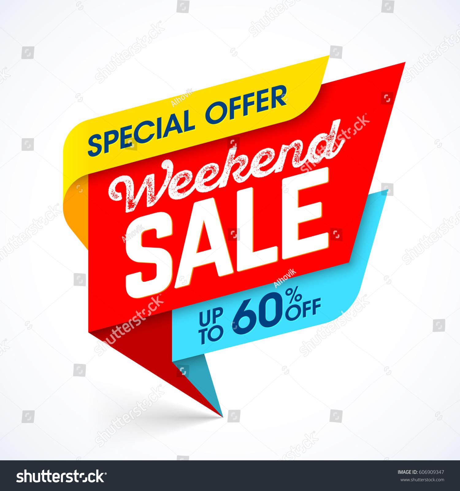 Ti9 Weekend Sale: Weekend Sale Special Offer Banner Vector Stock Vector