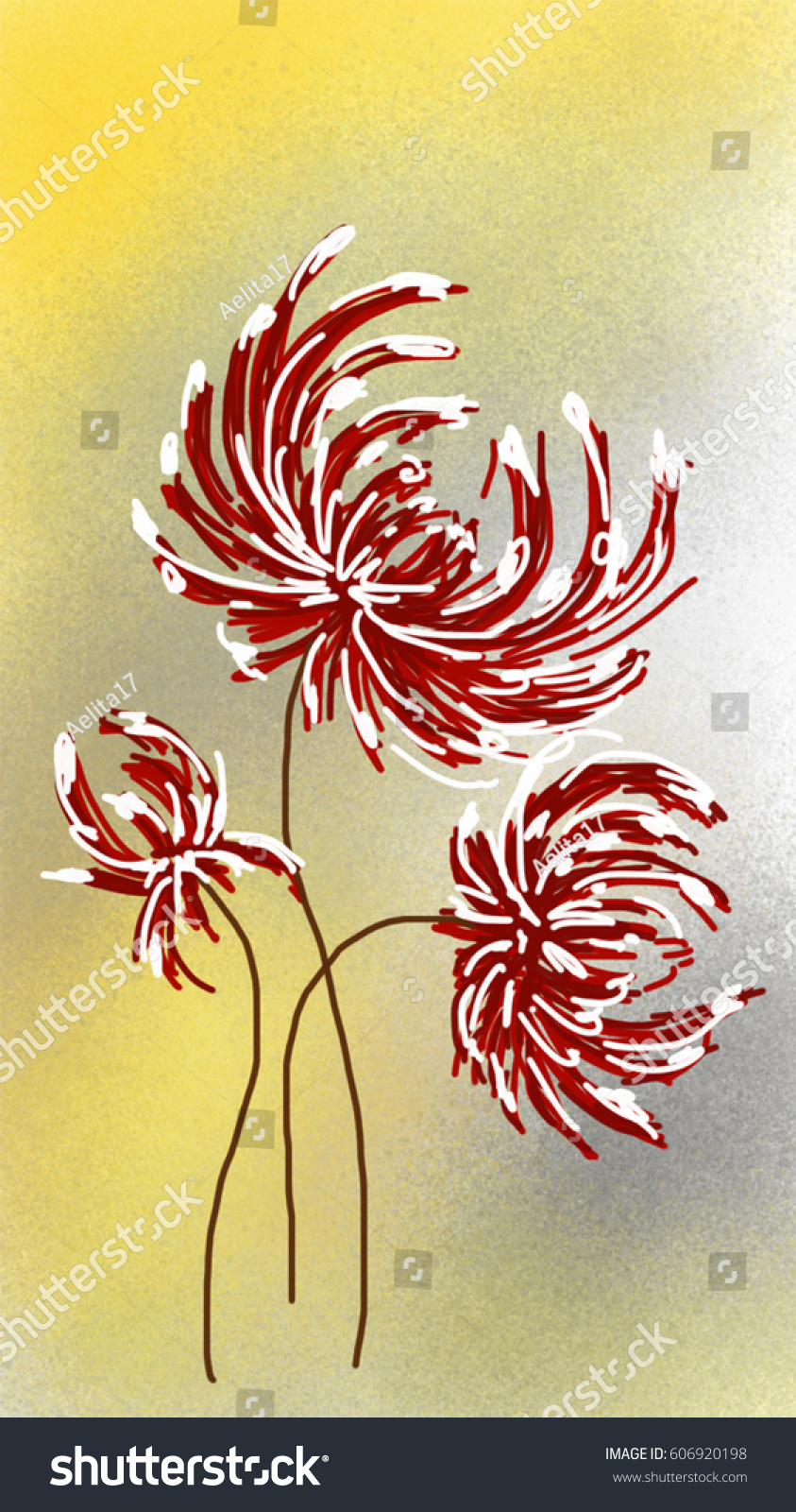 Illustration Red Flower On Yellow Grey Stock Illustration 606920198