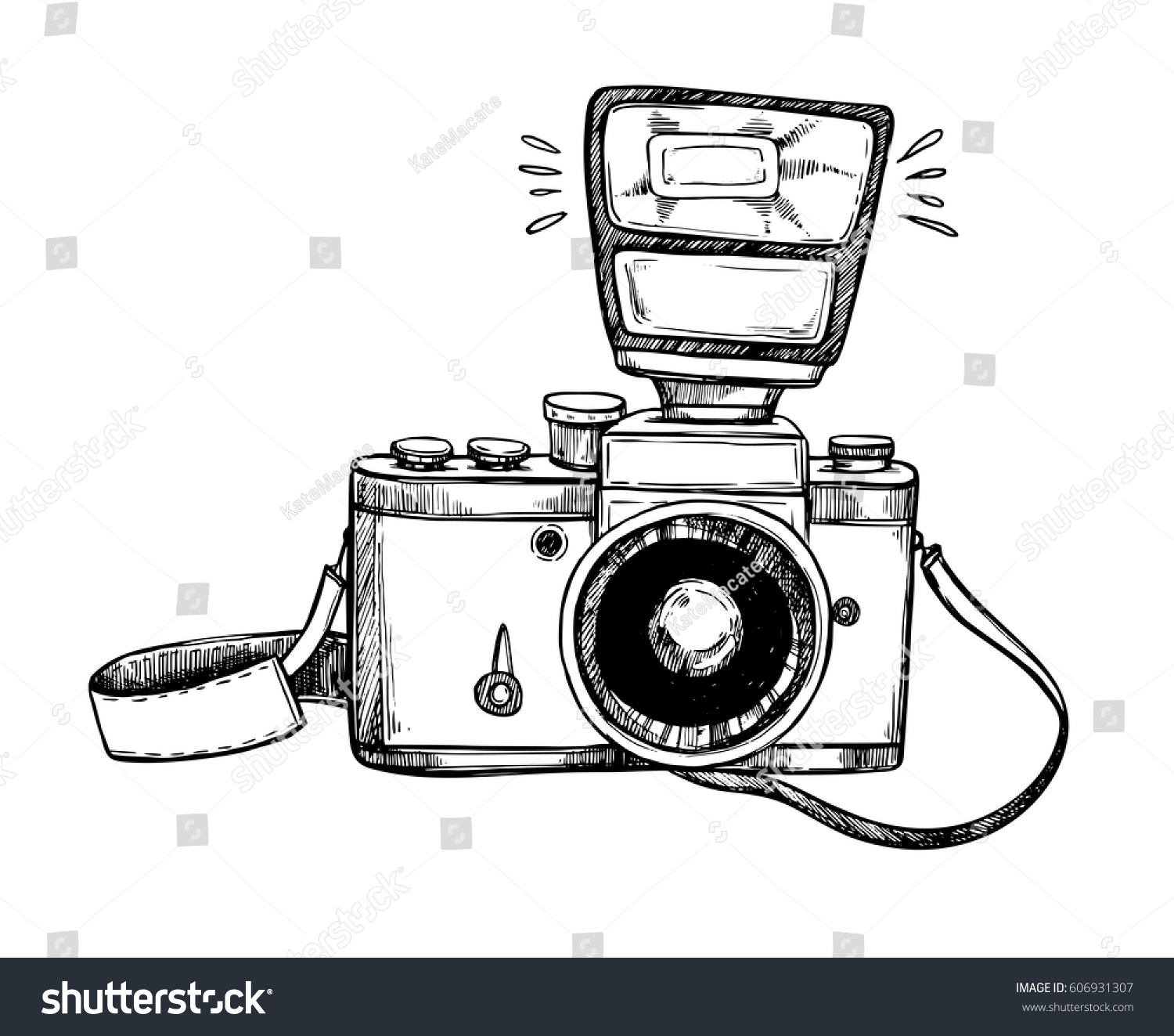 Hand Drawn Vector Illustrations Retro Camera Stock Vector ... for Camera Equipment Clipart  183qdu