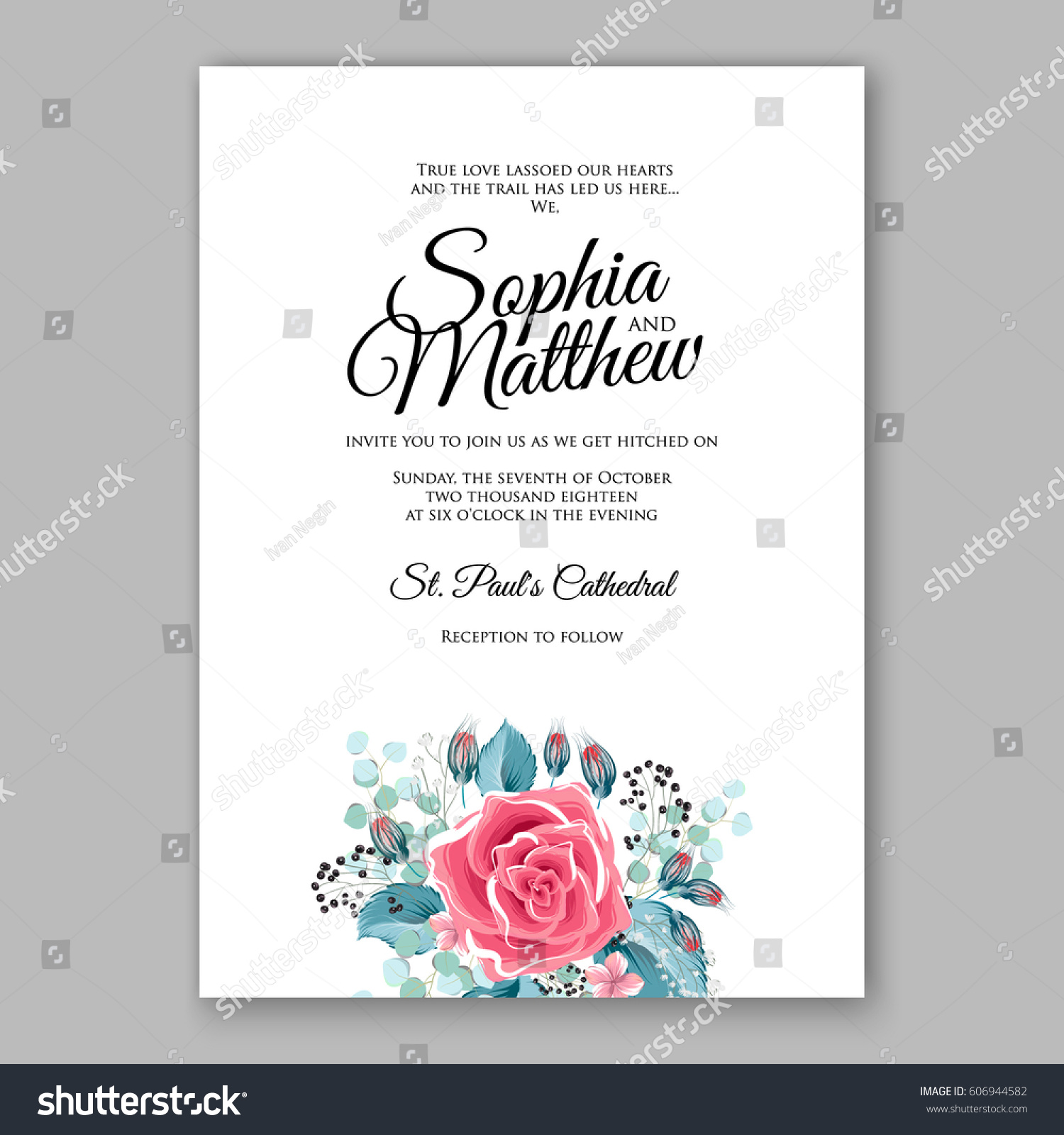 Red Rose Wedding Invitation Card Bridal Bouquet With Coral Roses, Pink  Ranunculus, Eucalyptus