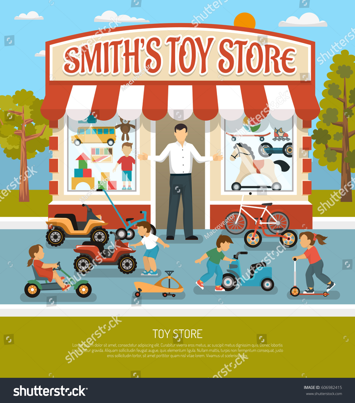 Kids Store Products Children Toy Shop Stock Vector