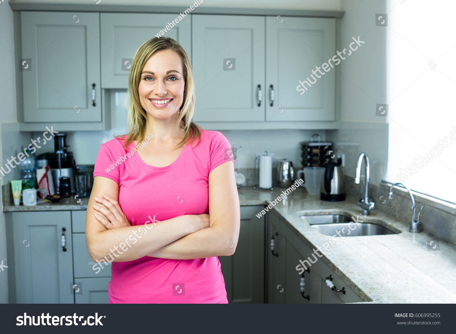 Pretty Blonde Woman Standing Middle Her Stock Photo (Download Now ...