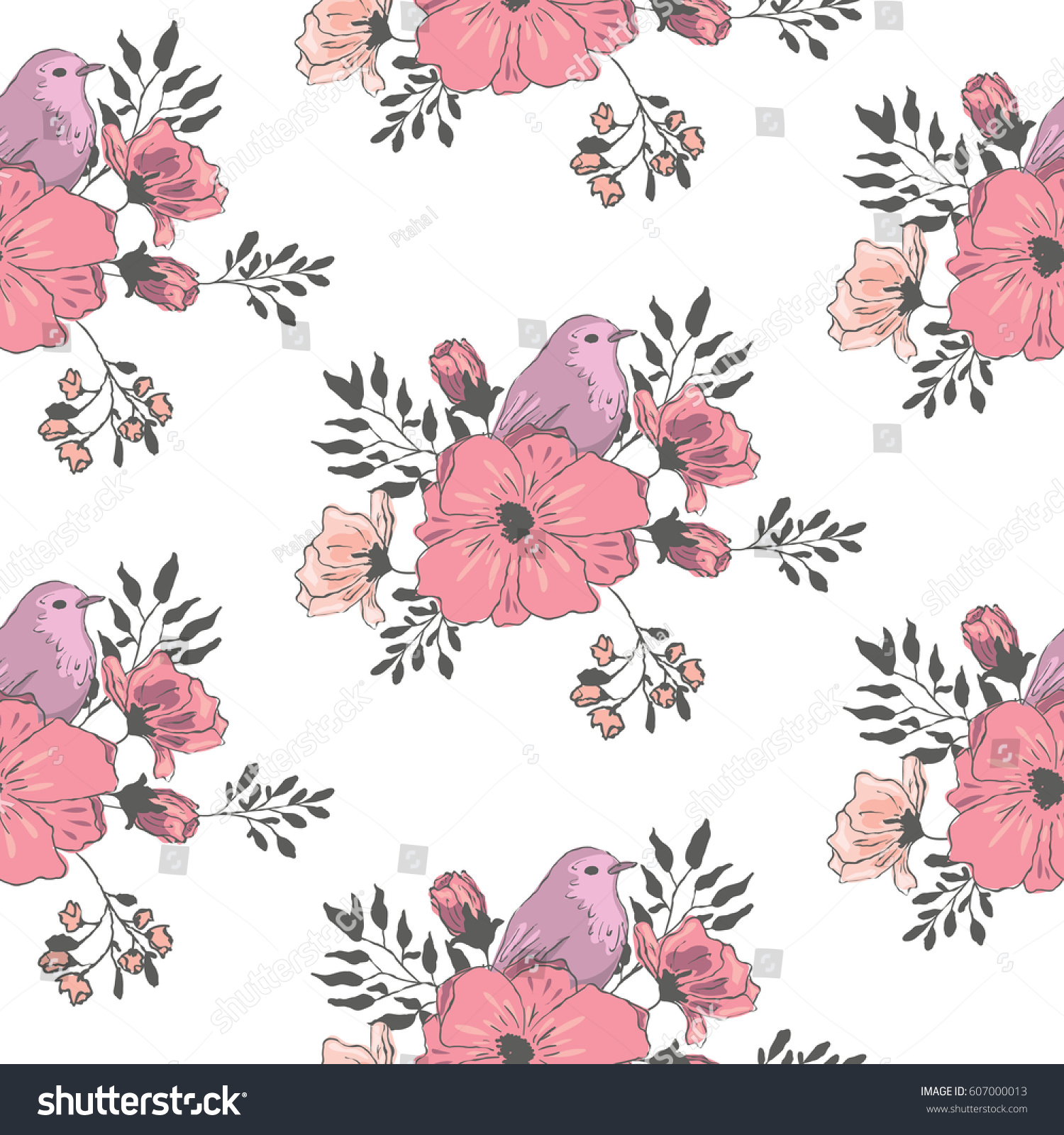 Purple Small Bird With Flowers Wallpaper Seamless Flower Pattern
