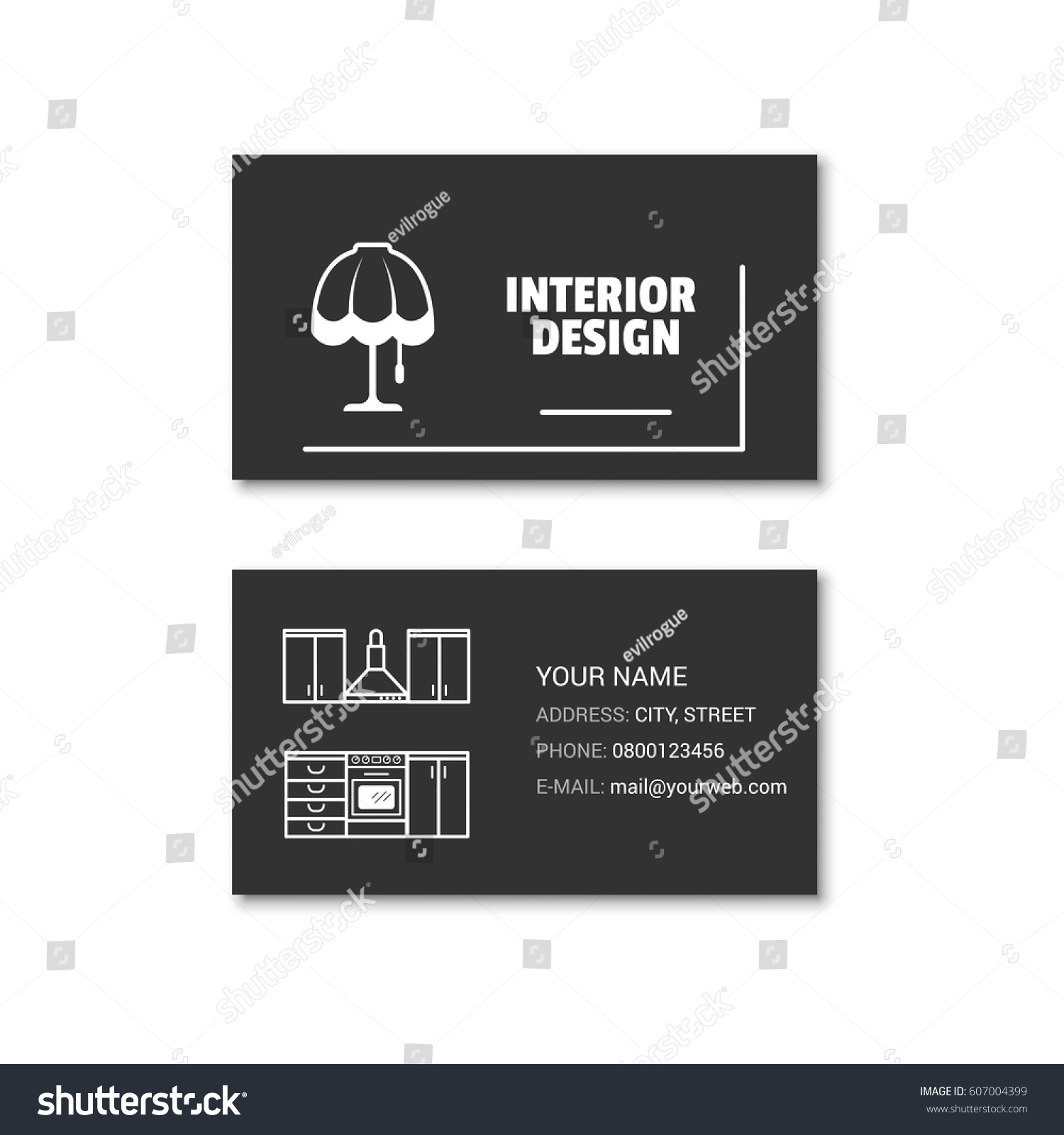 Simple Business Card Interior Designer Vector Stock Vector ...