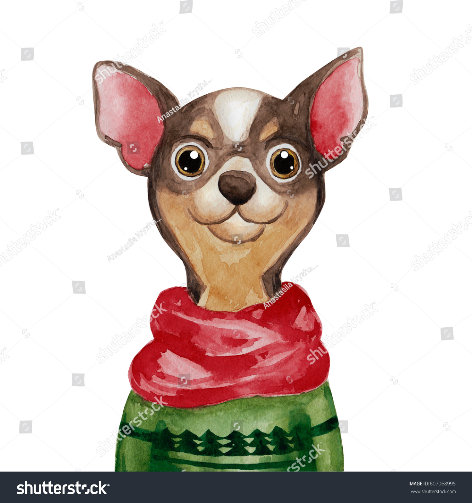 Watercolor Chihuahua Dog Sweater 2018 Chinese Stock Illustration ...