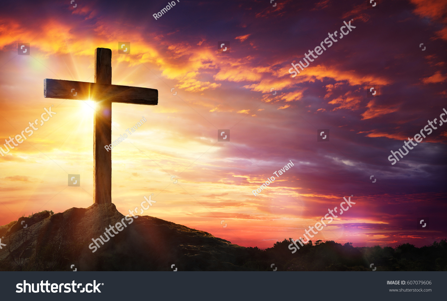 crucifixion jesus christ cross sunset stock photo 607079606