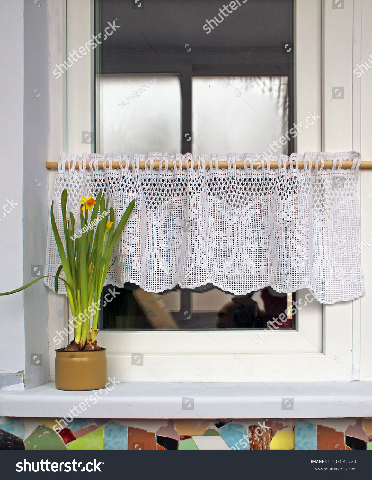Window White Vintage Crochet Shower Curtain Stock Photo Edit Now