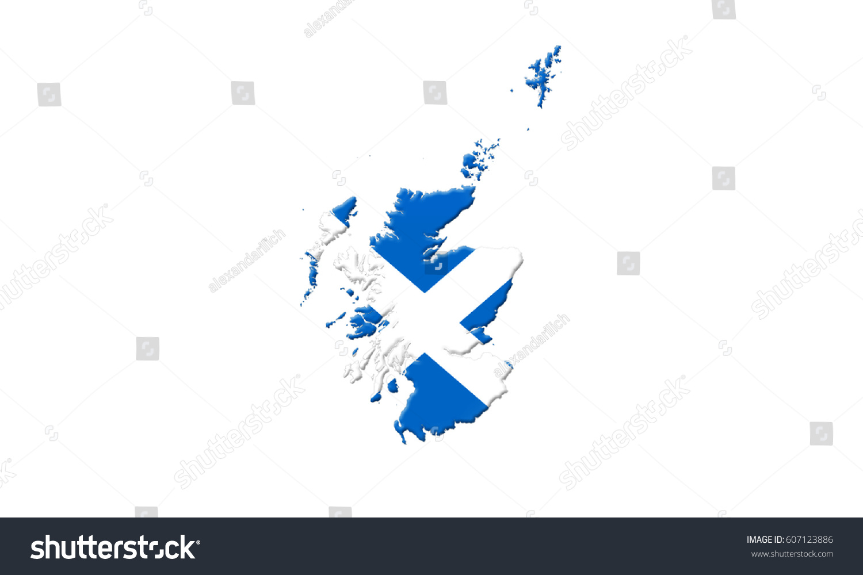 map scotland flag on isolated on stock illustration 607123886