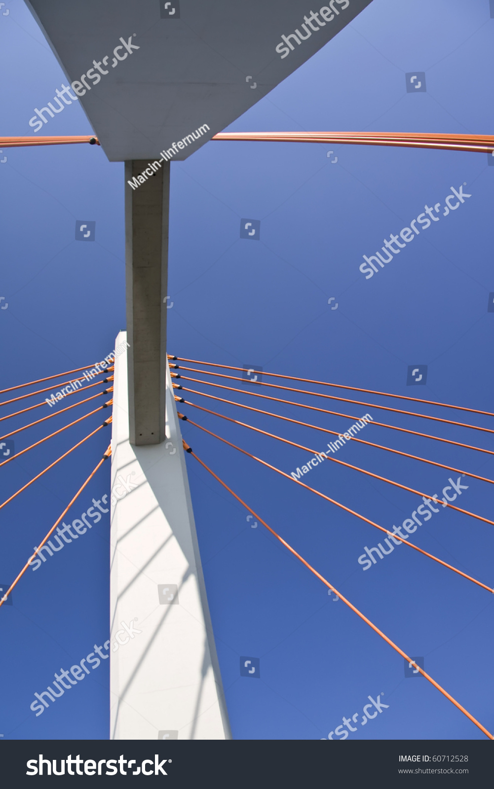 Abstract. Modern Suspension Bridge. Warsaw In Poland ...