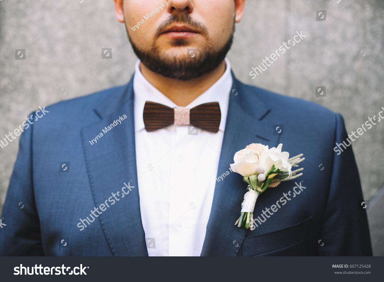 Bearded Groom Blue Suit Wooden Bow Stock Photo (Edit Now)- Shutterstock