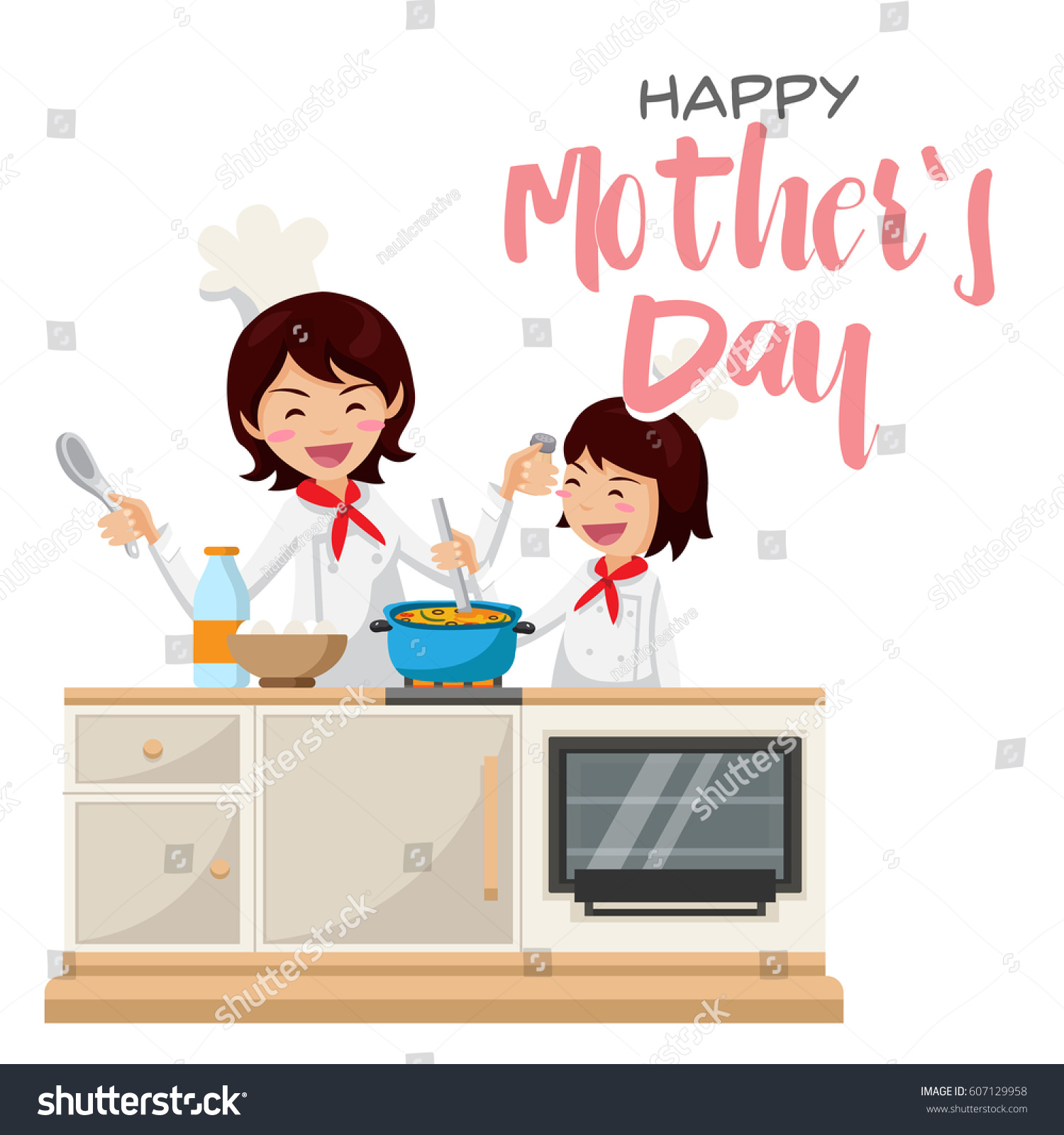 Isolated Cute Happy Mothers Day Mom Stock Vector 607129958 ...