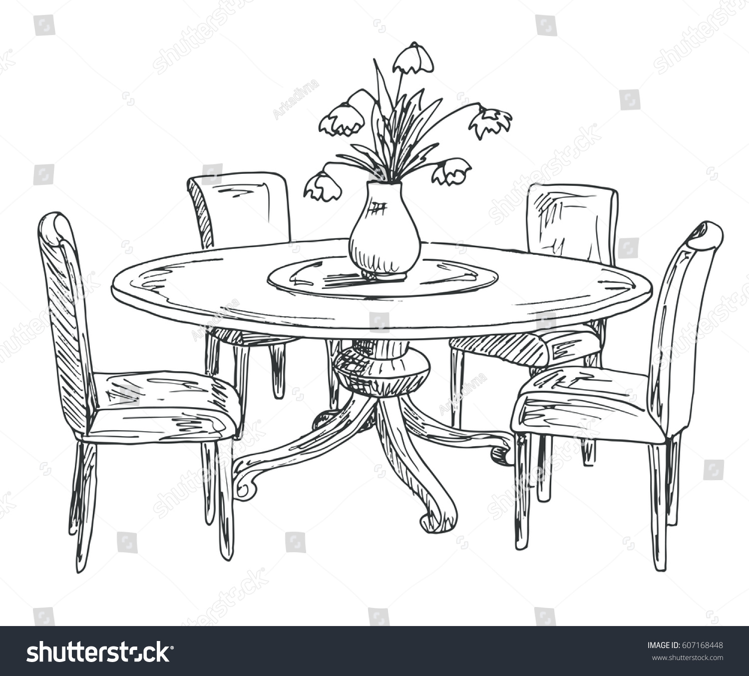 Part Dining Room Round Table Chairs Stock Vector 607168448