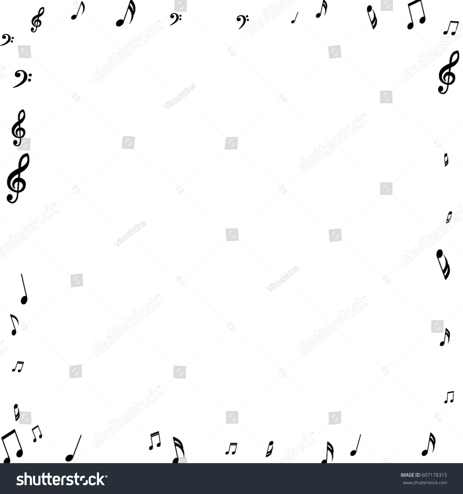 Square frame music notes treble bass stock vector 607178315 square frame of music notes treble and bass clefs black musical symbols on white background buycottarizona Choice Image