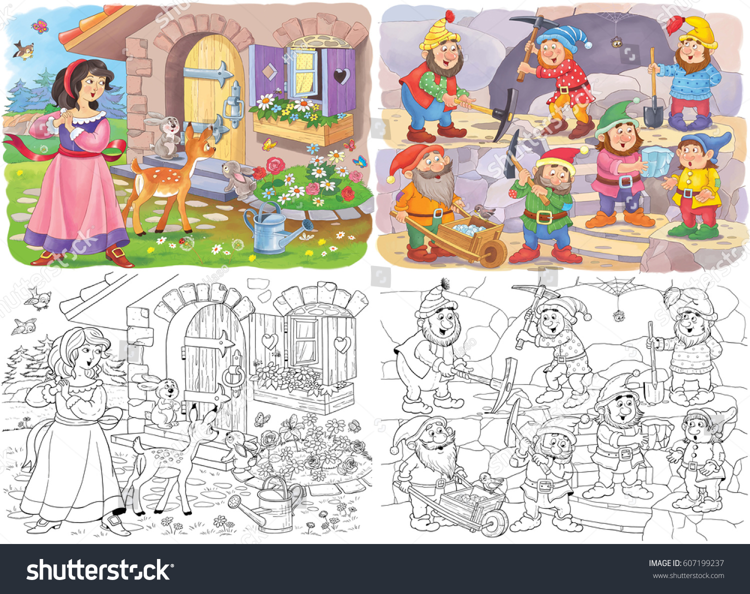 Set Of Cute Fairy Tale Illustrations Cute Fairies Prince And