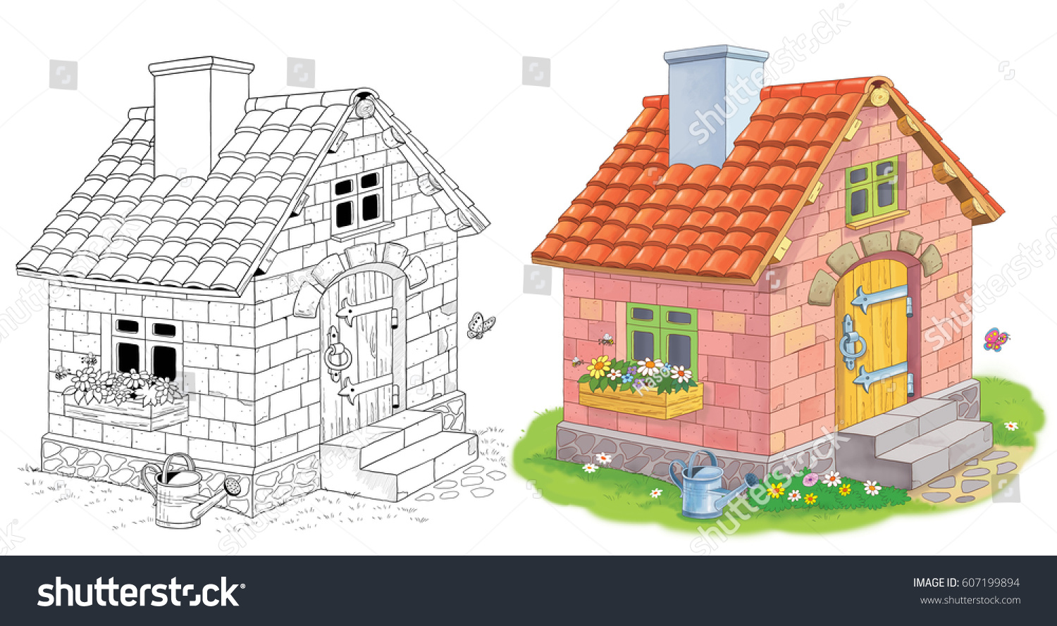 A Cute House Made Of Bricks Three Little Pigs Fairy Tale Coloring Book