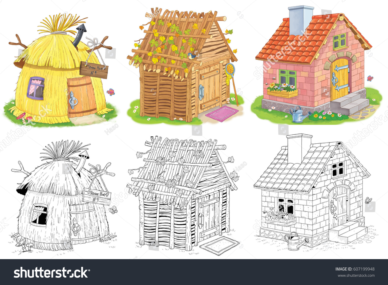 Three Different Cute Houses Straw Hut Stock Illustration ... House Made Of Sticks Cartoon