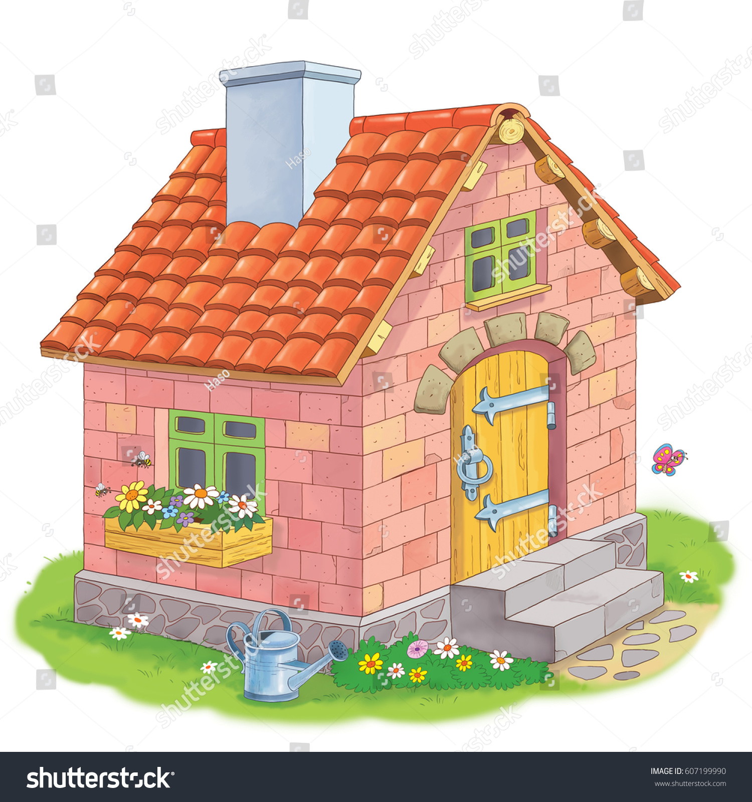 A cute house made of bricks three little pigs fairy tale coloring book coloring page funny cartoon characters illustration