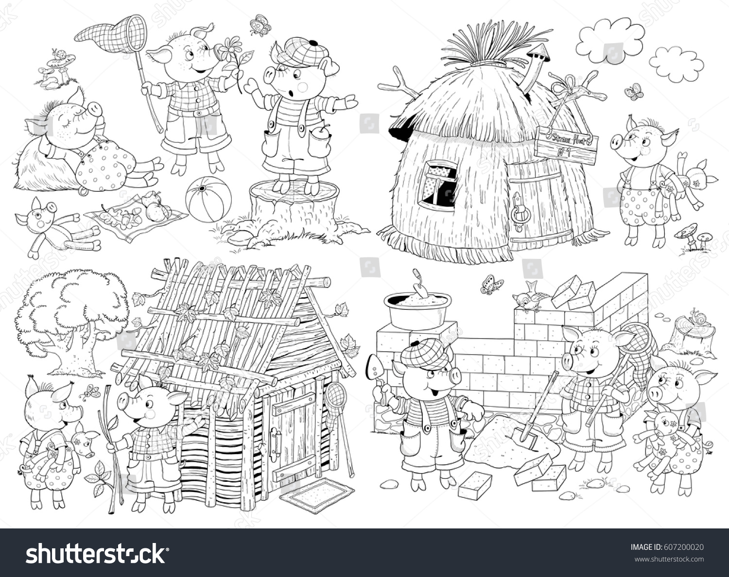 Three little pigs fairy tale coloring book coloring page illustration for children