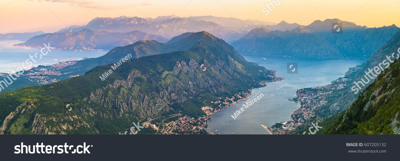sunset over bay kotor montenegro panorama stock photo royalty free