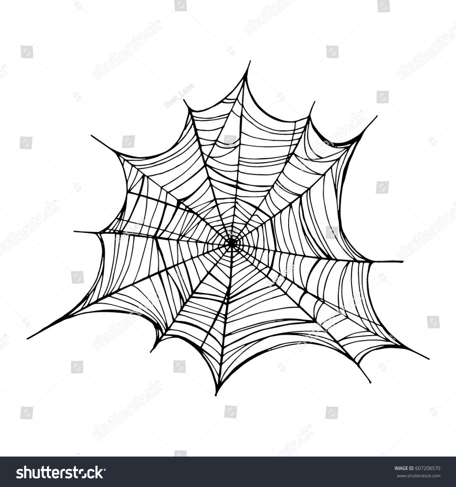 Line Art Website : Spiderweb trap vector illustration isolated web stock