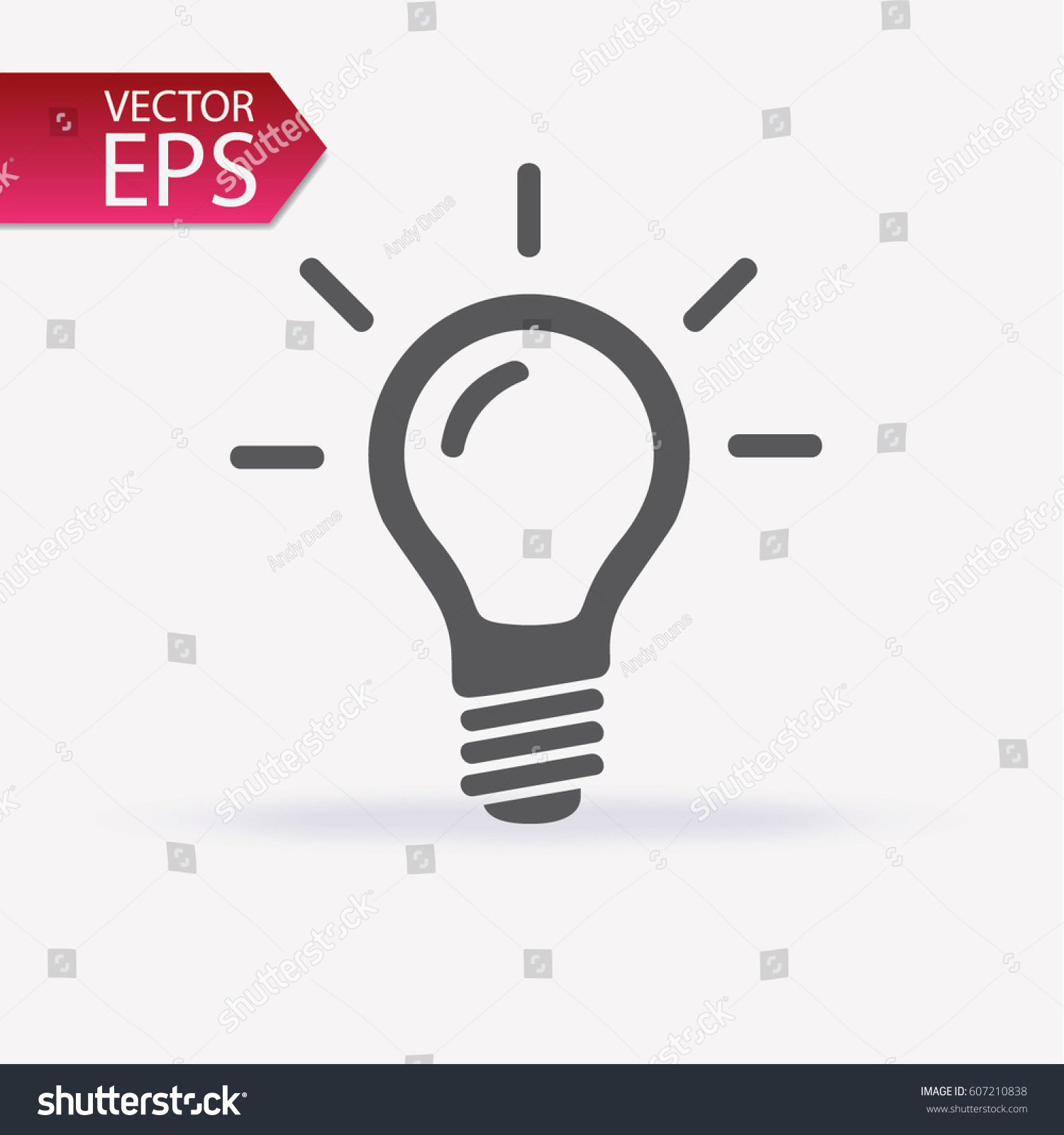 Bulb icon isolated on light background. Symbol of lighting, electric. Idea sign, thinking concept in flat style for graphic design, Web site, UI. EPS #607210838