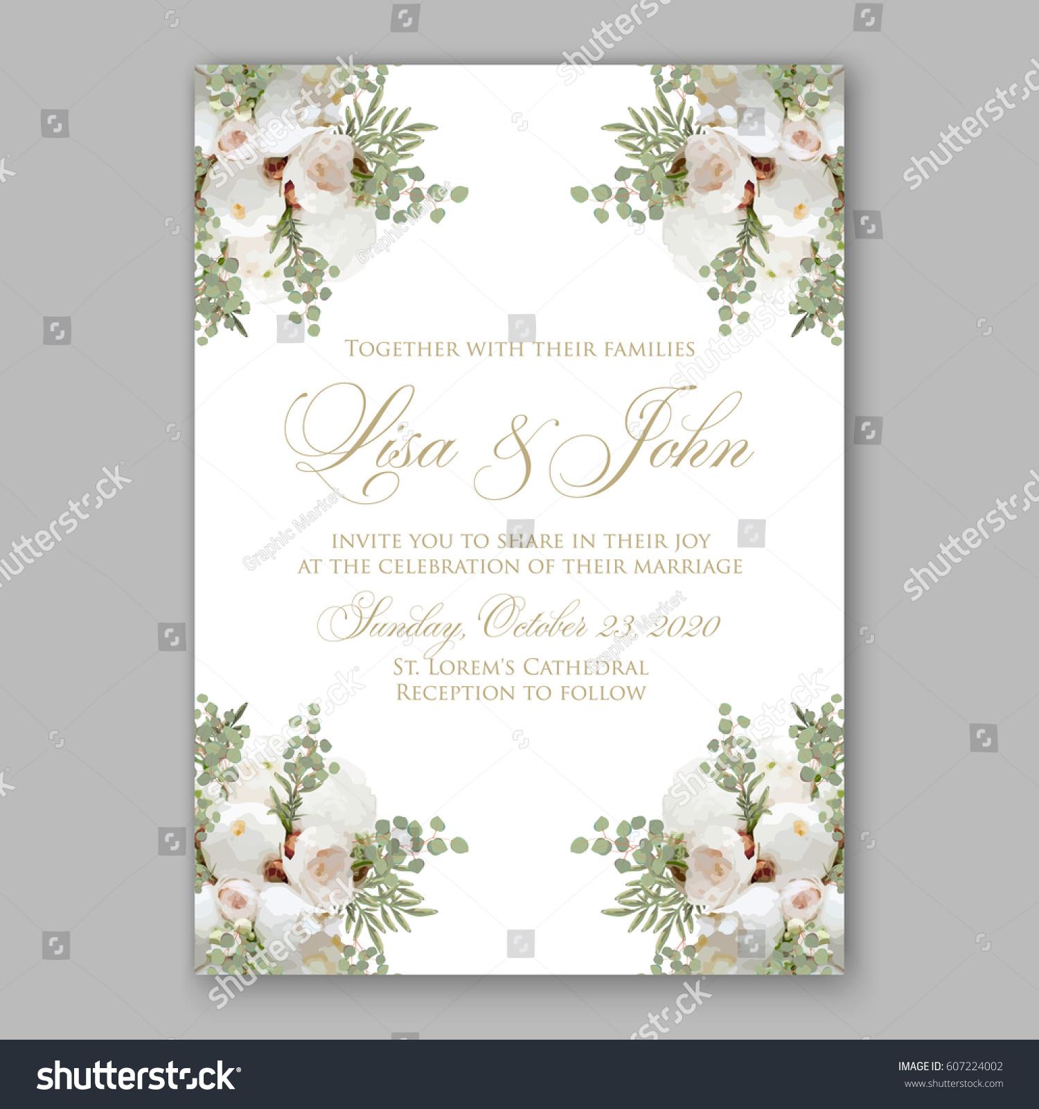 Elegant White Peony Wedding Invitation Stock Vector 607224002 ...