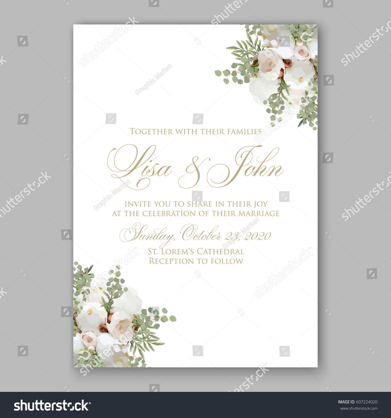 Elegant White Peony Wedding Invitation Stock Vector 607224020 ...