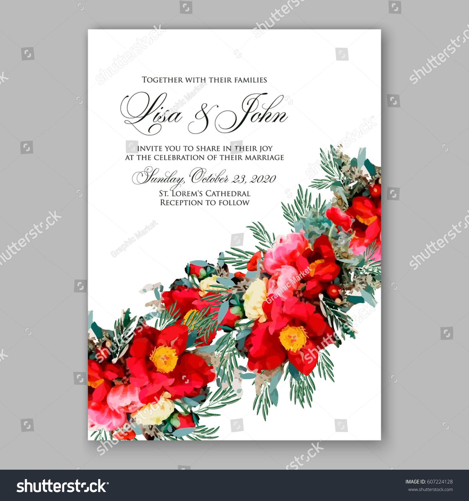 Ranunculus Red Wedding Invitation Peony Anemone Stock Vector HD ...