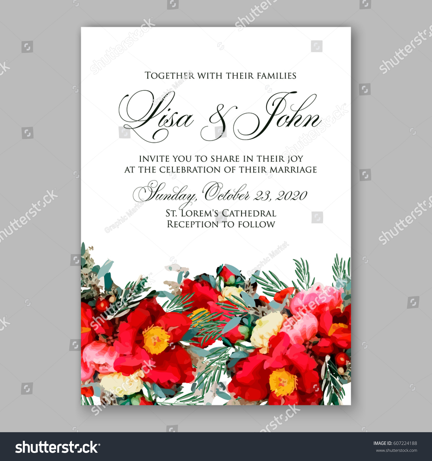 Ranunculus Red Wedding Invitation Peony Anemone Stock Vector ...