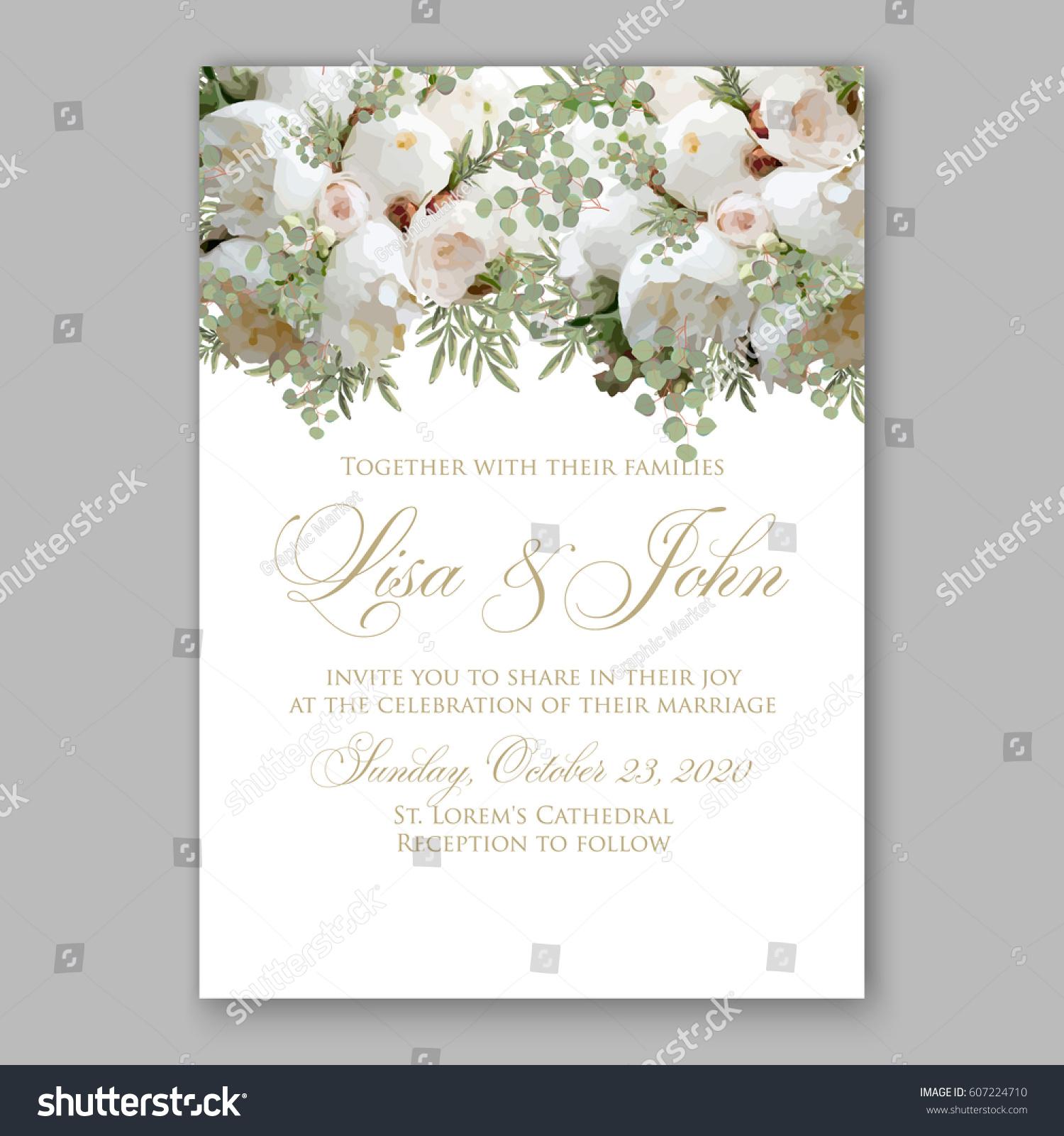 Elegant White Peony Wedding Invitation Stock Vector 607224710 ...