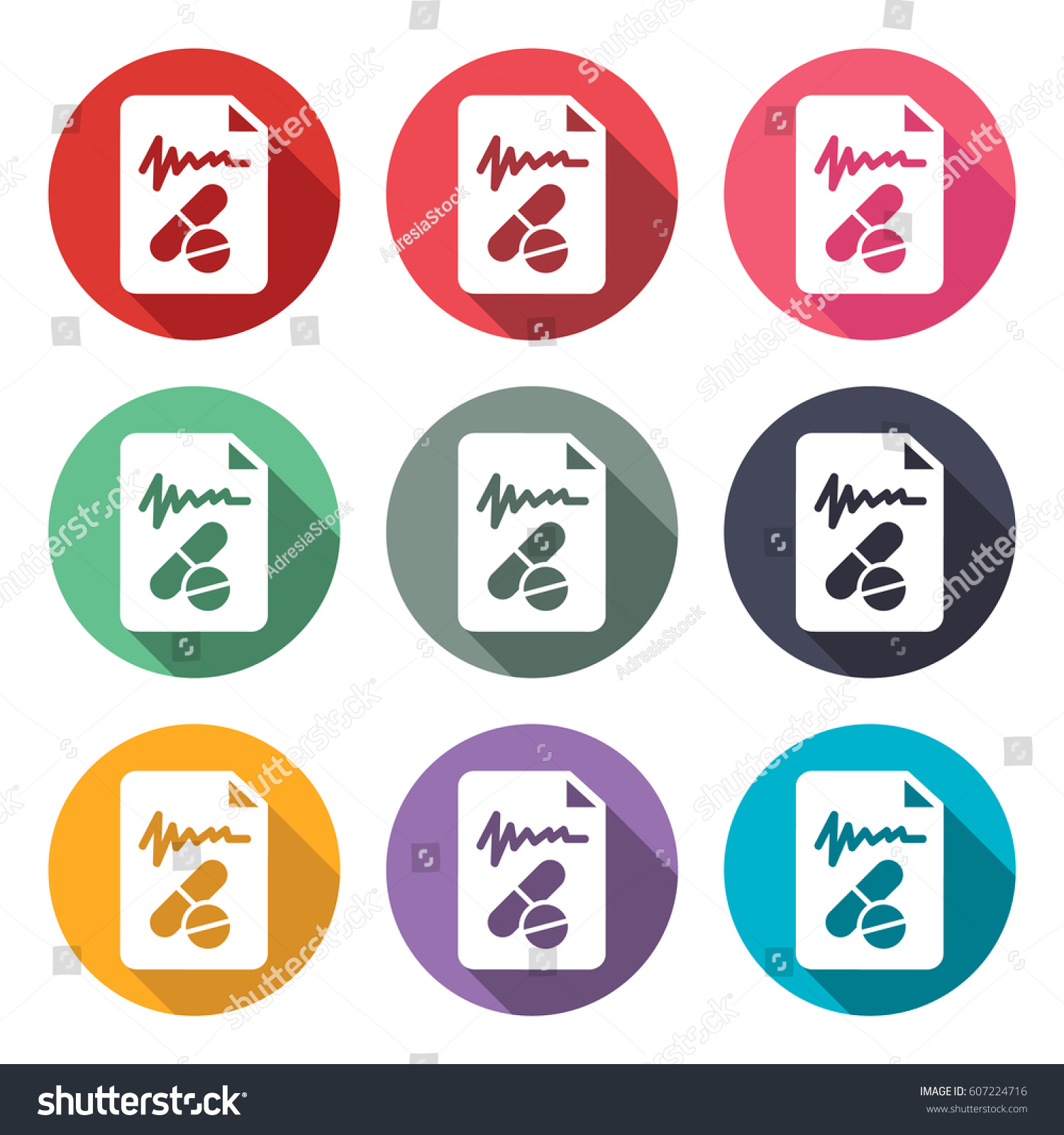 Icon Illustrations Prescription Medicine Doctor Stock Vector