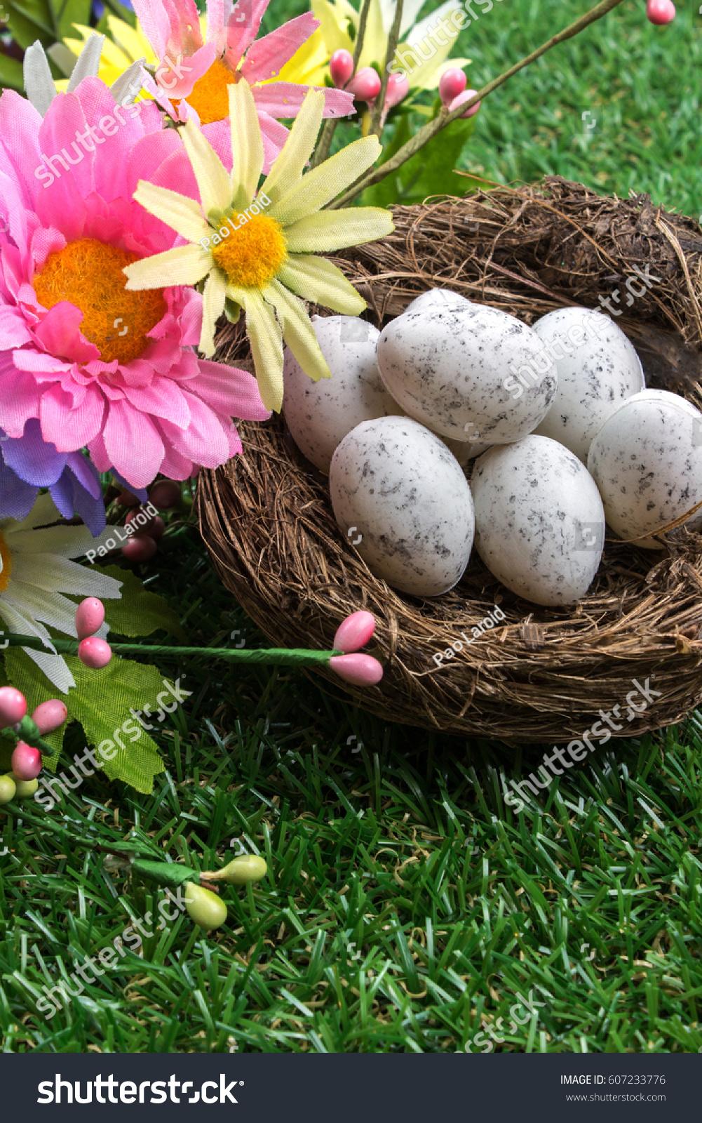 Plastic Easter Eggs Ans Flowers On Stock Photo 607233776