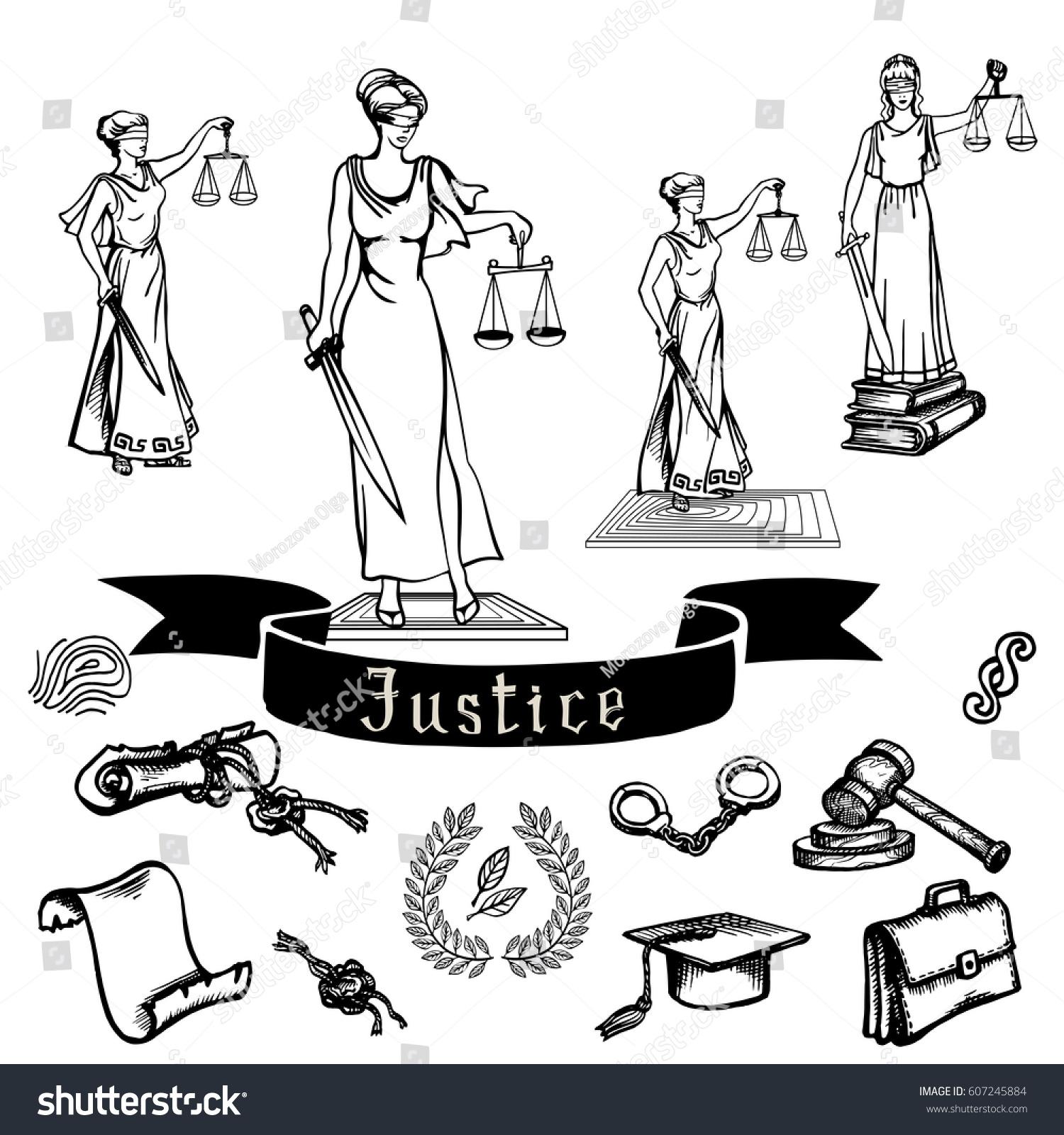 Set black justice law symbols on stock vector 607245884 shutterstock set of black justice or law symbols on white background sketch eps 8 buycottarizona