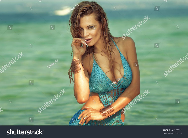 Beautiful Blonde Caucasian Woman Relaxing Shallow Stock ...