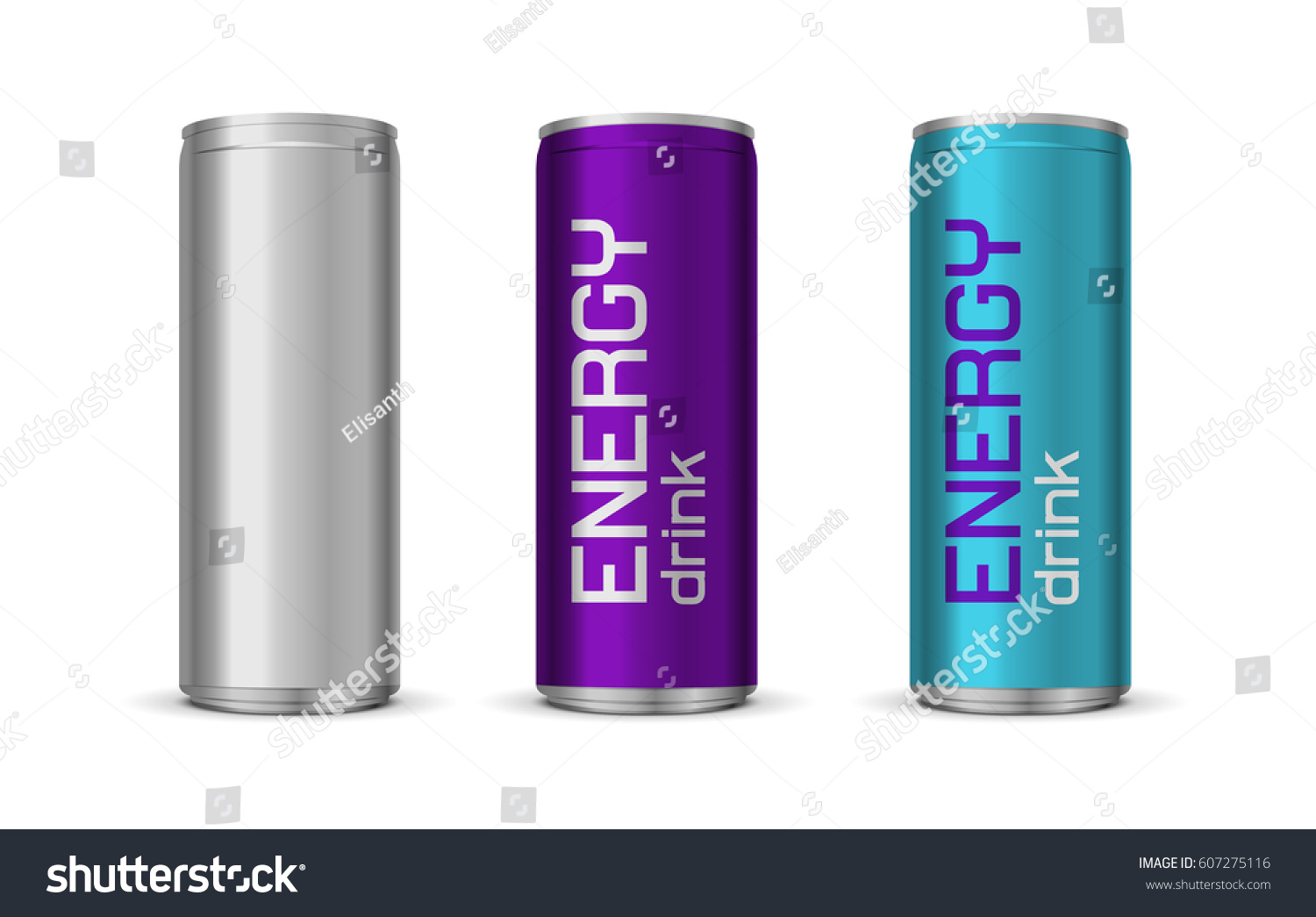 Vector Illustration Bright Energy Drink Cans Vector de stock (libre ...