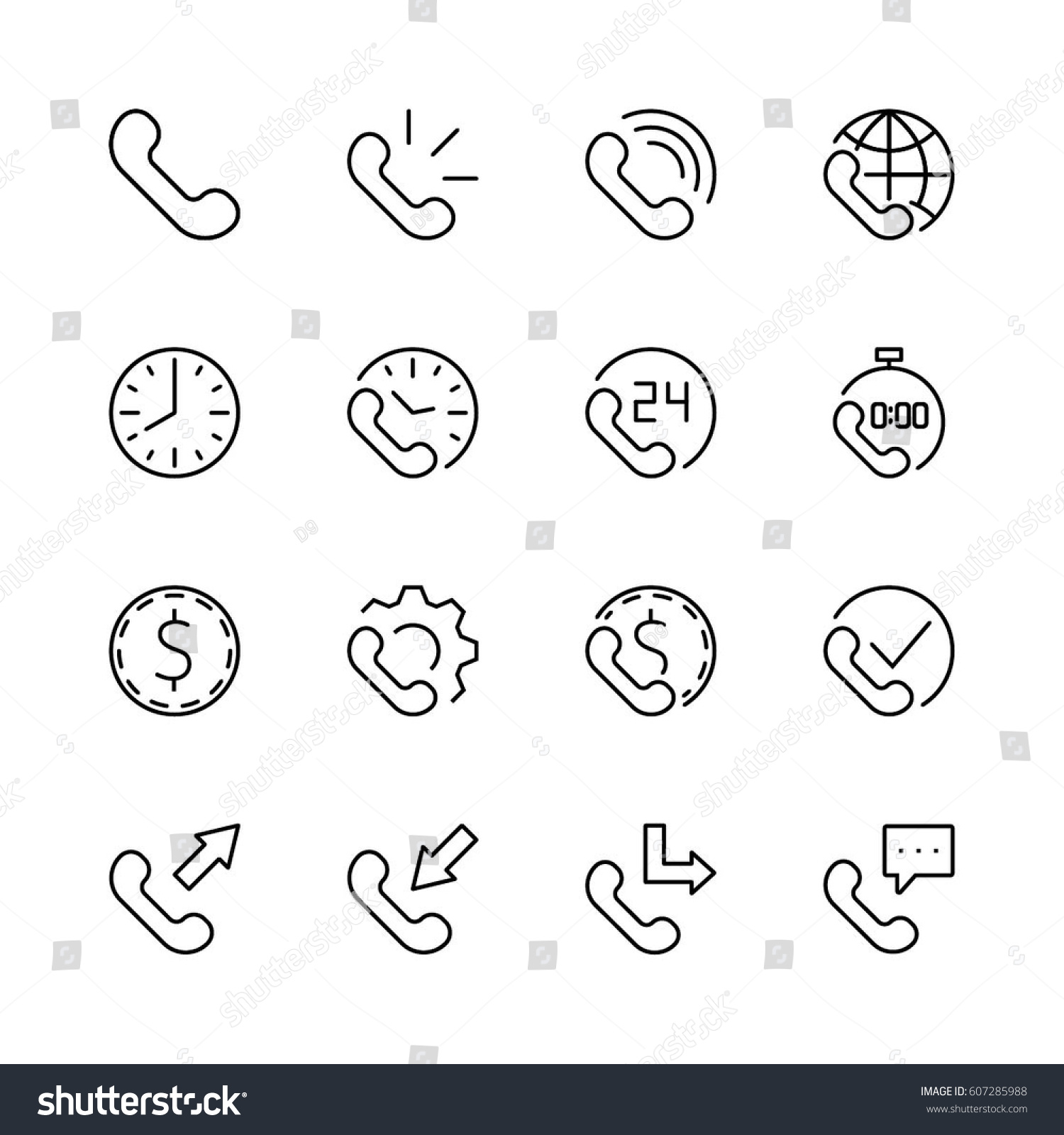 Set Phone Vector Line Icons Contains Stock Vector 607285988