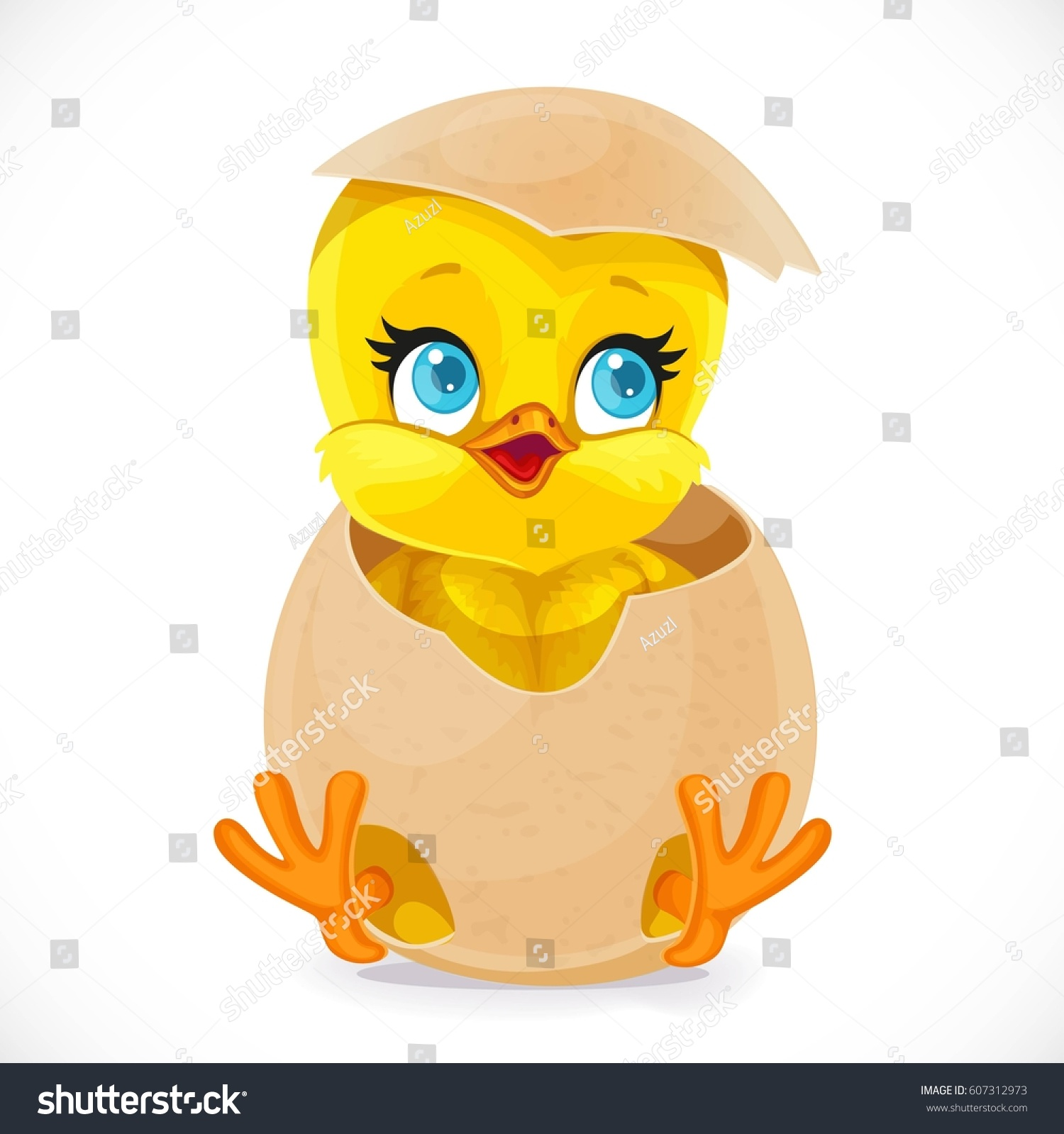Egg Cartoon Part - 46: Cute Little Cartoon Chick Hatched From An Egg Isolated On A White Background