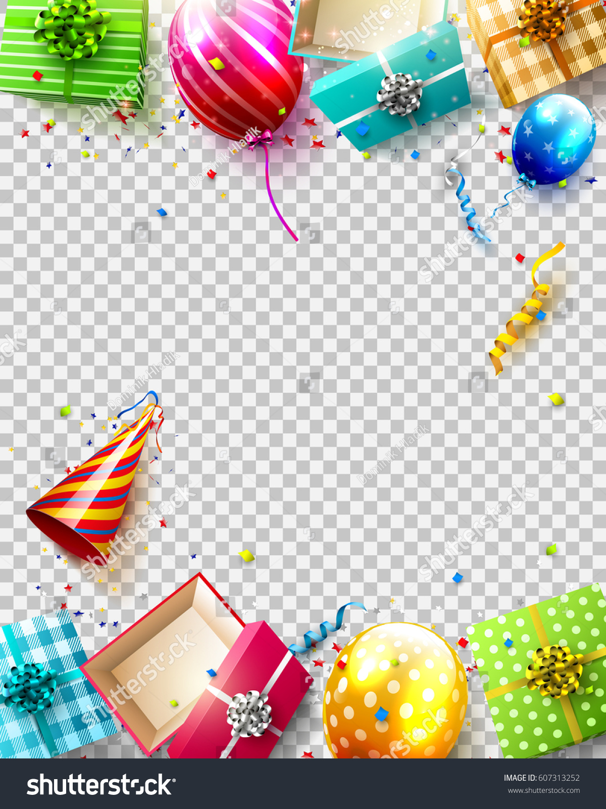 Birthday Balloons Gifts And Confetti On Transparent Background