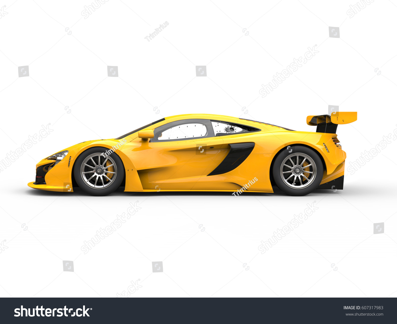 Yellow Shiny Modern Race Car   Side View   3D Illustration